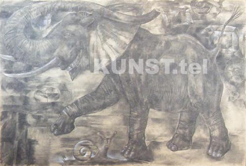 ETAPAS 2. Piešinys 'Raudonasis Dramblys' ('Red Elephant'),  medžio anglis,  popierius, dailininkas-tapytojas Leonid Zаdonski (Le-Za)