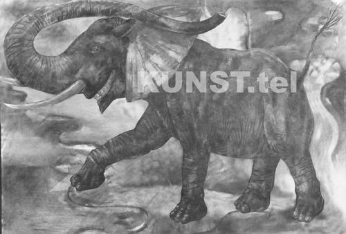 ETAPAS 3. Piešinys 'Raudonasis Dramblys' ('Red Elephant'), dailininkas-tapytojas Leonid Zаdonski (Le-Za)