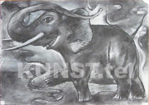 Idėjos paveikslui 'Raudonasis Dramblys' eskizas, medžio anglis, popierius, dailininkas-tapytojas Leonid Zаdonski (Le-Za)