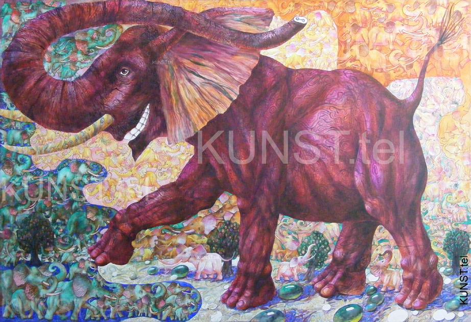 ETAPAS 10. Paveikslas 'Raudonasis Dramblys' ('Red Elephant'), dailininkas-tapytojas Leonid Zаdonski (Le-Za)