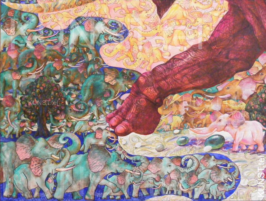 ETAPAS 10. Paveikslo 'Raudonasis Dramblys' ('Red Elephant') detalės – medis, nutapytas kaireje apatineje drobės dalyje, dailininkas-tapytojas Leonid Zаdonski (Le-Za).