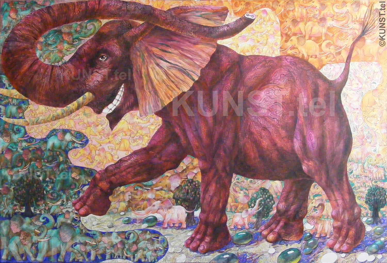 Paveikslas 'Raudonasis Dramblys' ('Red Elephant'), akrilinė tapyba ant drobės, meno kūrinis yra užbaigtas! Dailininkas-tapytojas Leonid Zаdonski (Le-Za)