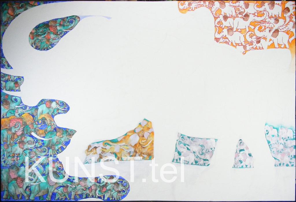 ETAPAS 4. Paveikslas 'Raudonasis Dramblys' ('Red Elephant'), dailininkas-tapytojas Leonid Zаdonski (Le-Za)