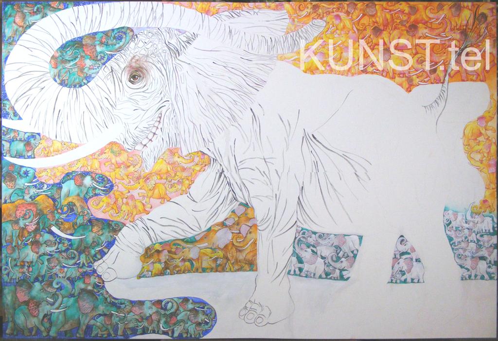 ETAPAS 5. Paveikslas 'Raudonasis Dramblys' ('Red Elephant'), dailininkas-tapytojas Leonid Zаdonski (Le-Za)