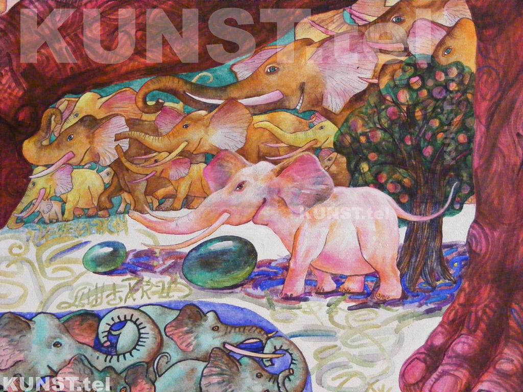 ETAPAS 9. Paveikslo 'Raudonasis Dramblys' ('Red Elephant') detalės – pirmasis baltas drambliukas bei medis, dailininkas-tapytojas Leonid Zаdonski (Le-Za).