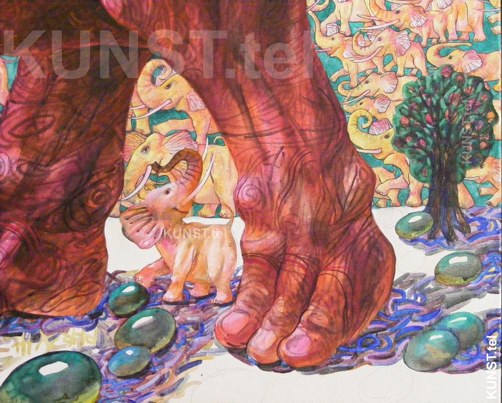 ETAPAS 9. Paveikslo 'Raudonasis Dramblys' ('Red Elephant') detalės – trečiasis baltas drambliukas bei medis, dailininkas-tapytojas Leonid Zаdonski (Le-Za).