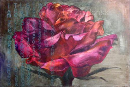 Paveikslas 'Rožė' ('Rose'), akrilas, drobė, dailininkas-tapytojas Leonid Zаdonski (Le-Za)