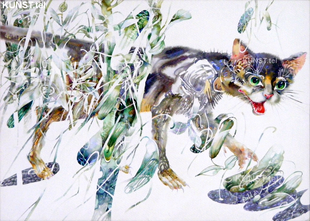 Watercolor Painting of Cat & Cucumber Field