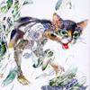 Akvarelės paveikslas «Katinas Agurkų Lauke», dailininkas-tapytojas Leonid Zаdonski (Le-Za)