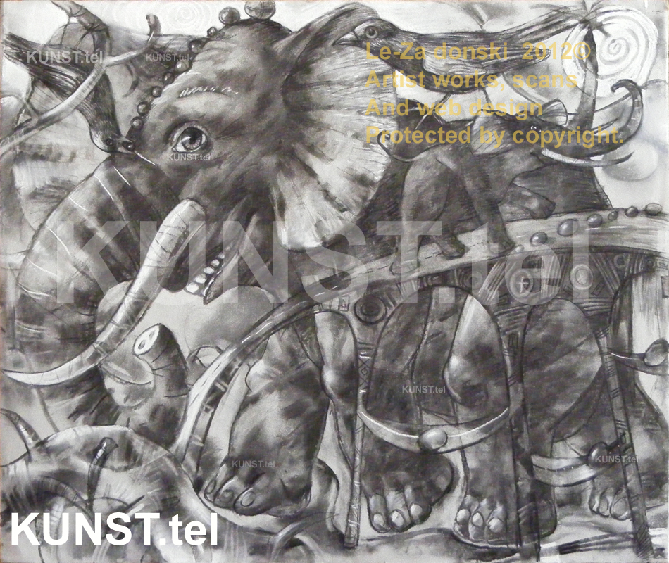 Charcoal drawing 'The Elephants Bridge'