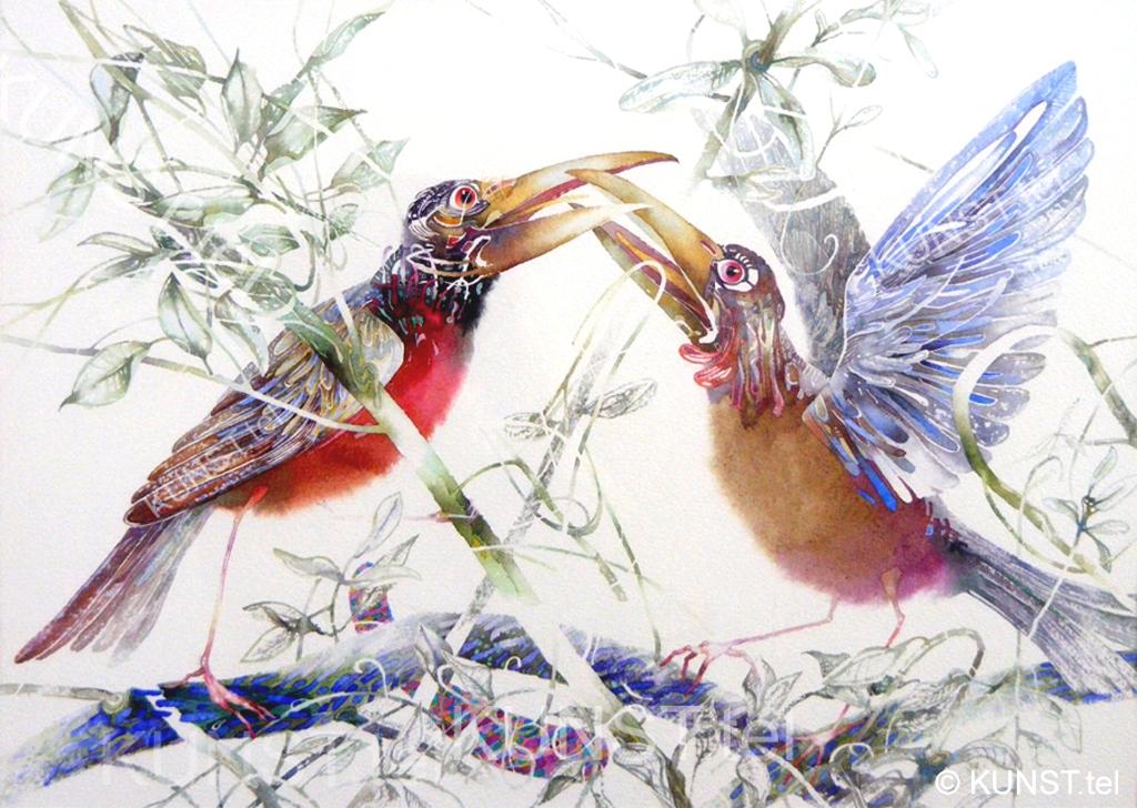 akvarelė 'Du Besibučiuojantys Paukščiai', dailininkas-tapytojas Le-Za