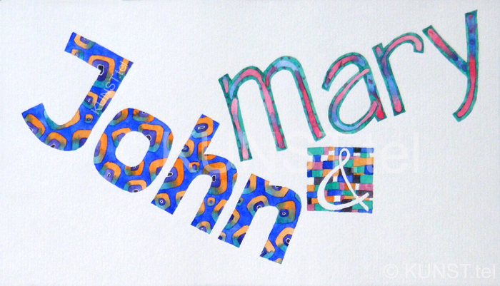"Personalized Name Art. Two first names ""John & Mary"""