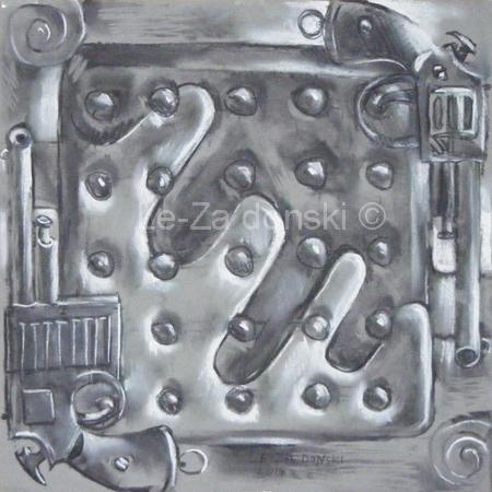 "Paveikslas ant drobės ""Revolveriai"" (""Revolvers""), dailininkas-tapytojas Leonid Zаdonski (Le-Za)"