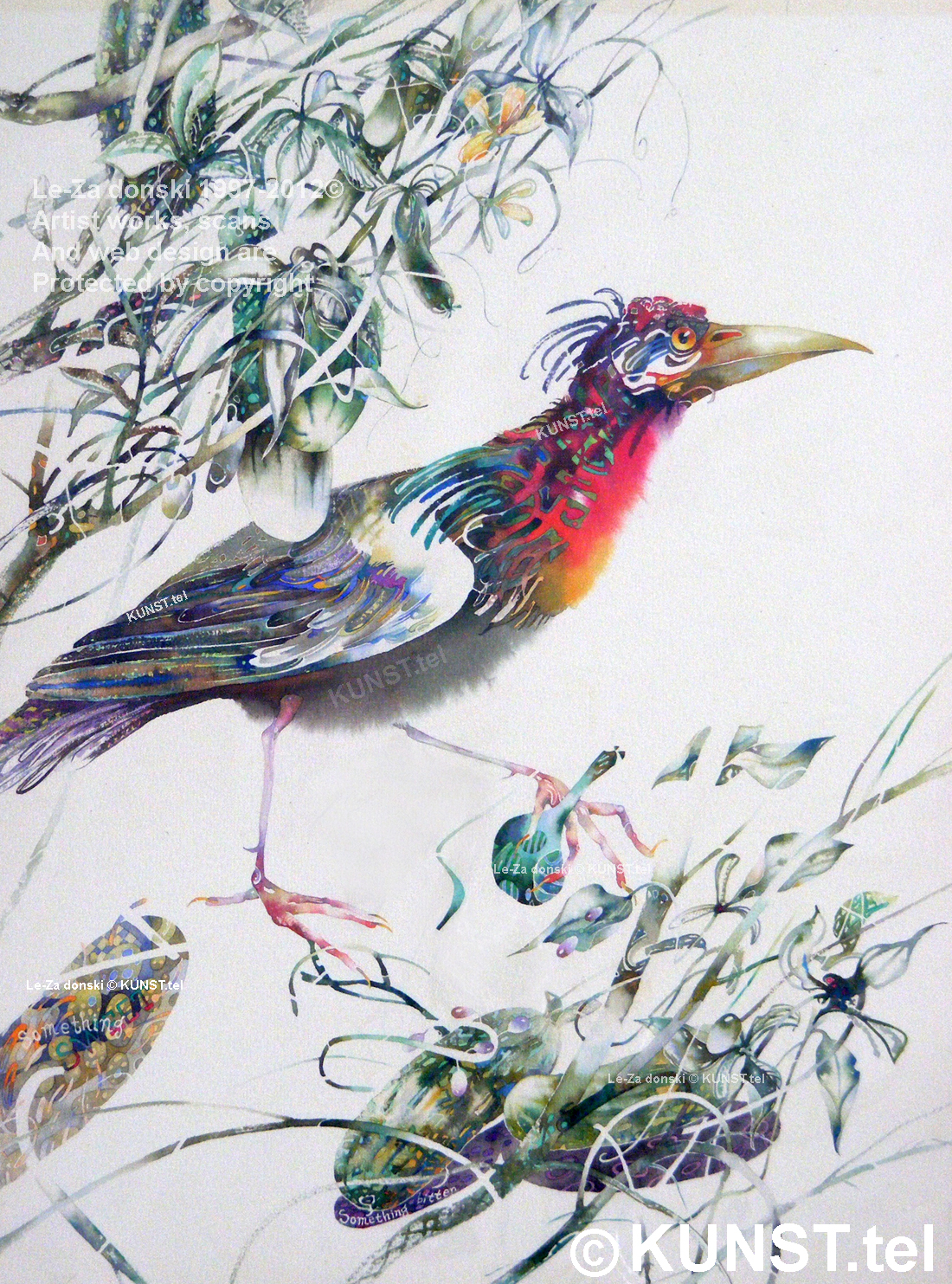 "watercolor painting ""Something Sweet & Bitter for Bird"""