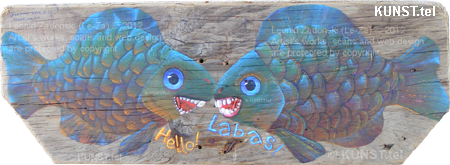 "Painting on a wooden plank from Baltic Sea ""Two Fish"""", painting artist Leоnid Zаdonski (Le-Za)"
