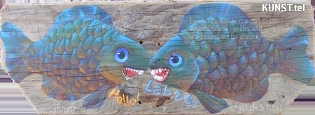 """Paveikslas ant medžio lentos """"Dvi Žuvys"""", dailininkas-tapytojas Leonid Zаdonski (Le-Za)"""
