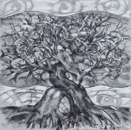 """Paveikslas ant drobės """"Du Medžiai"""" (""""Two Trees""""), dailininkas-tapytojas Leonid Zаdonski (Le-Za)"""