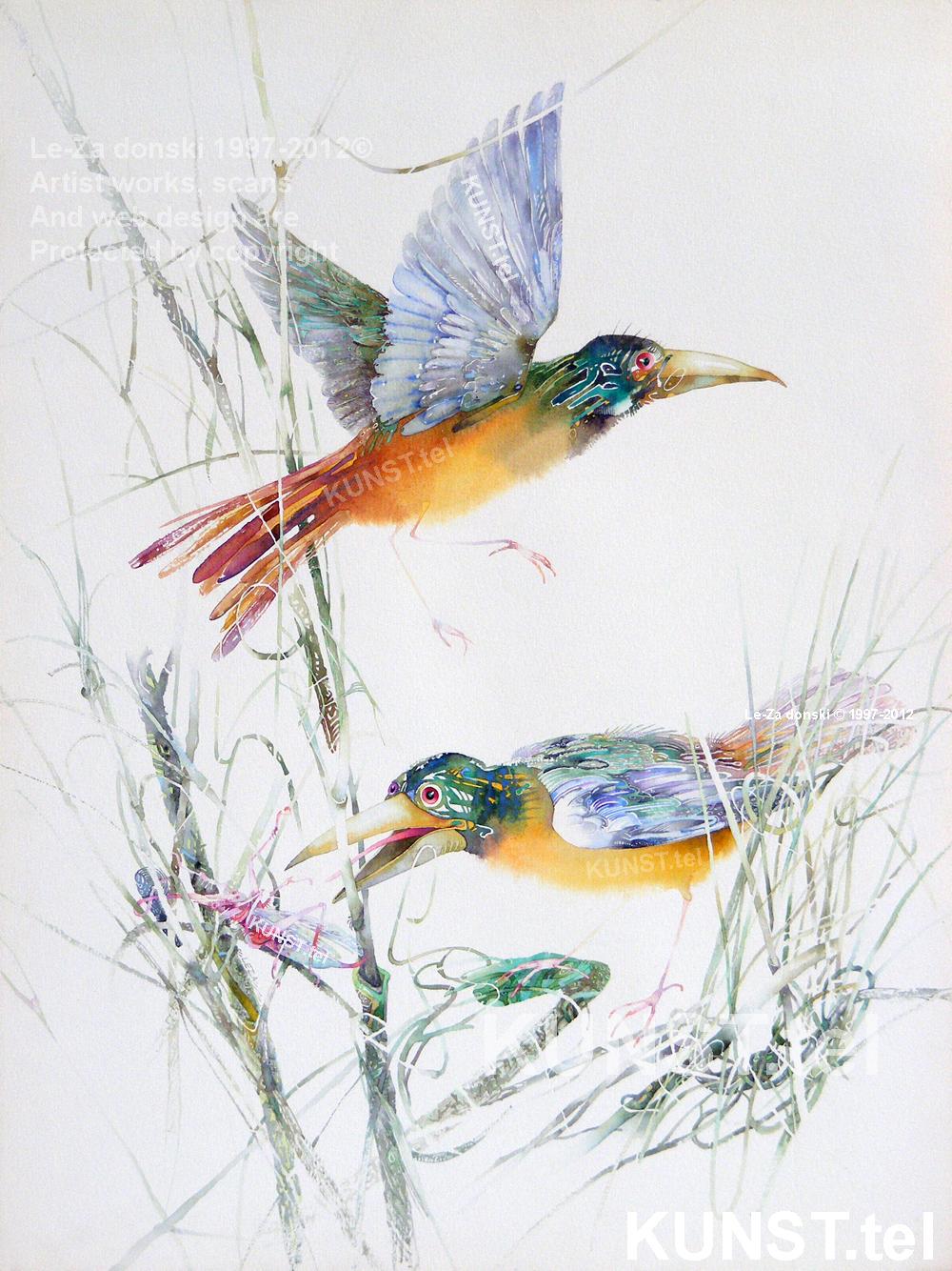 """Akvarelės""""Du Geltoni Paukščiai"""", dailininkas-tapytojas Le-Za"""