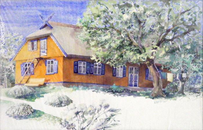 """Akvarelė """"Geltonas Namas Nidoje"""", dailininkas-tapytojas Le-Za"""