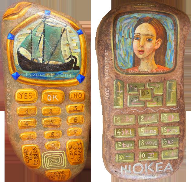 """""""Akmėnobiliakas"""" (""""StonePhones""""), miniatiūrinė tapyba, Le-Za"""