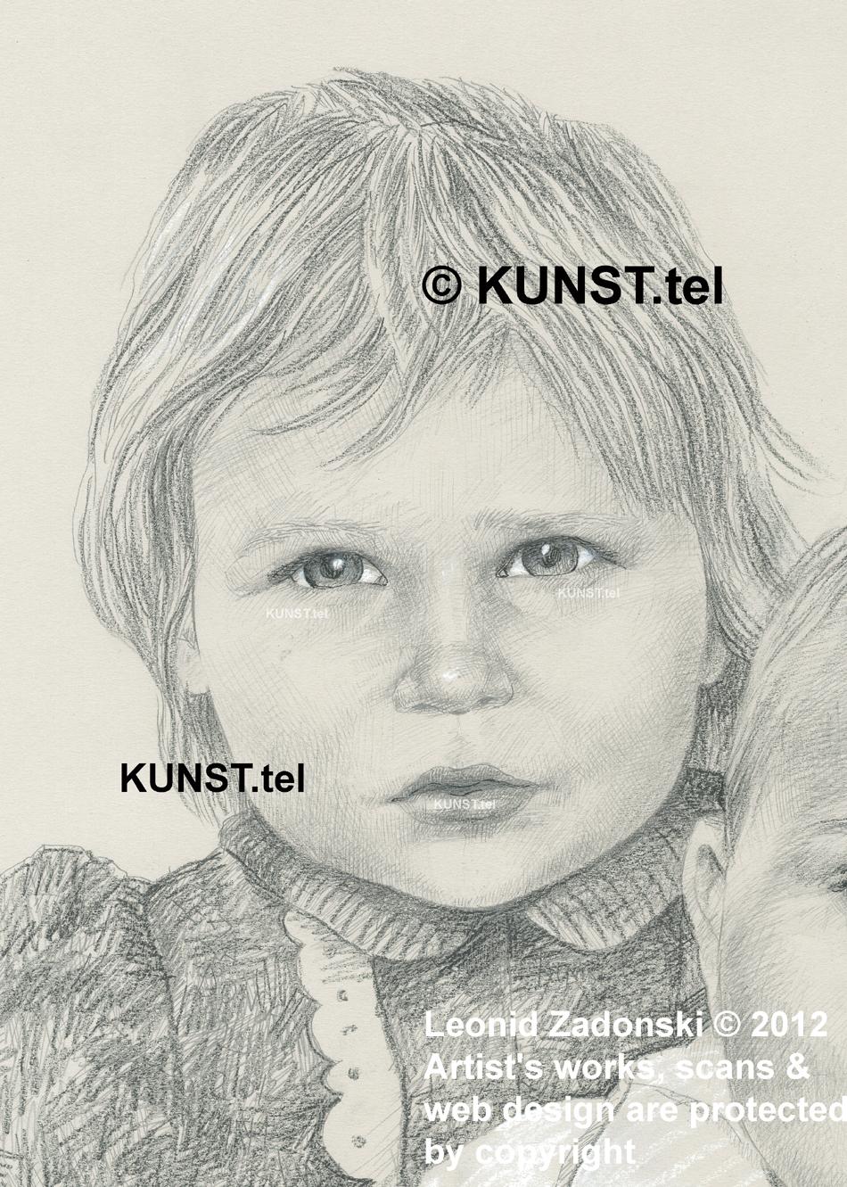 Vaiko iš kairės portretas, dailininkas-portretistas Le-Za