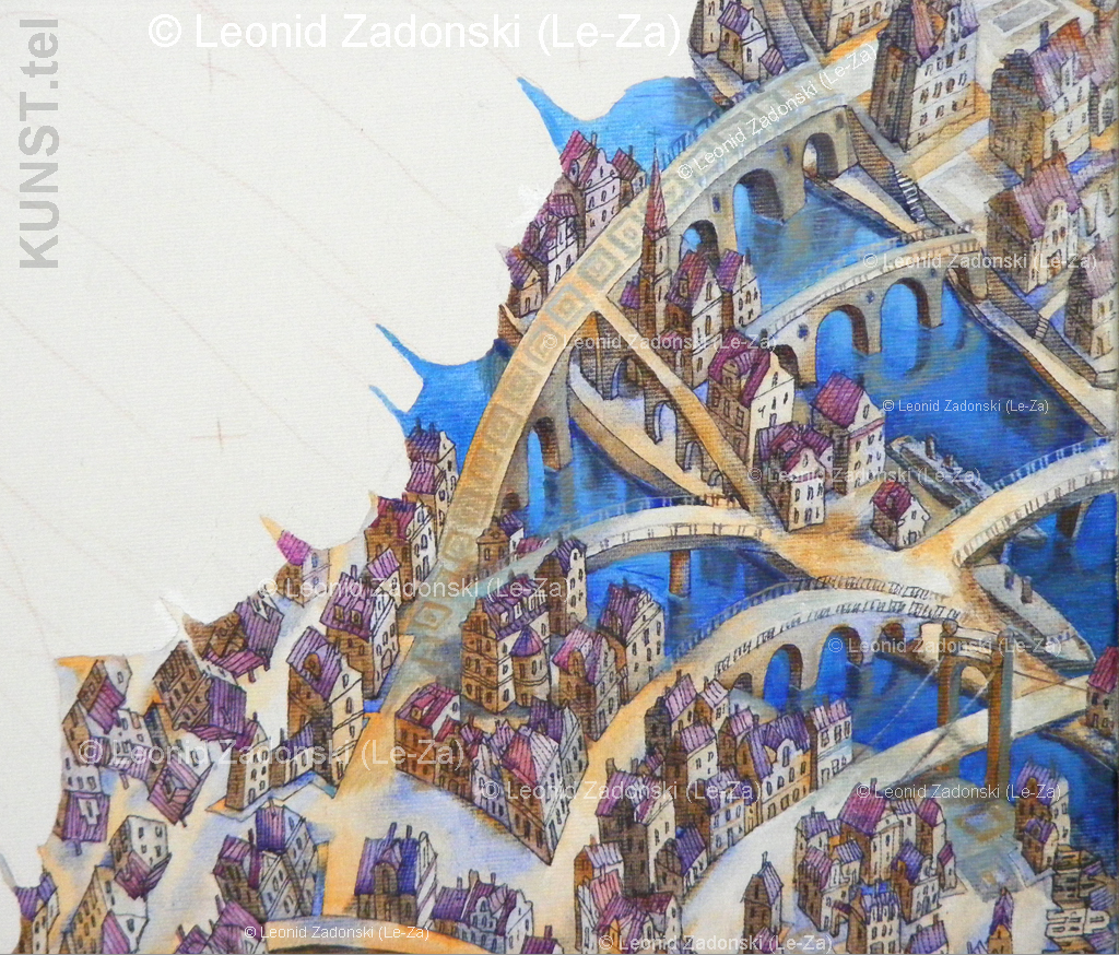 "Detail of the painting ""Flying Butterfly"" on canvas. Painting of houses at the middle right side of the canvas.  (Le-Za)"