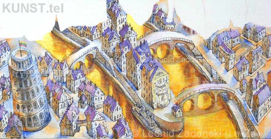 "Detail of the painting ""Flying Butterfly"" on canvas. Painting of houses at the middle bottom side of the canvas (Le-Za)"