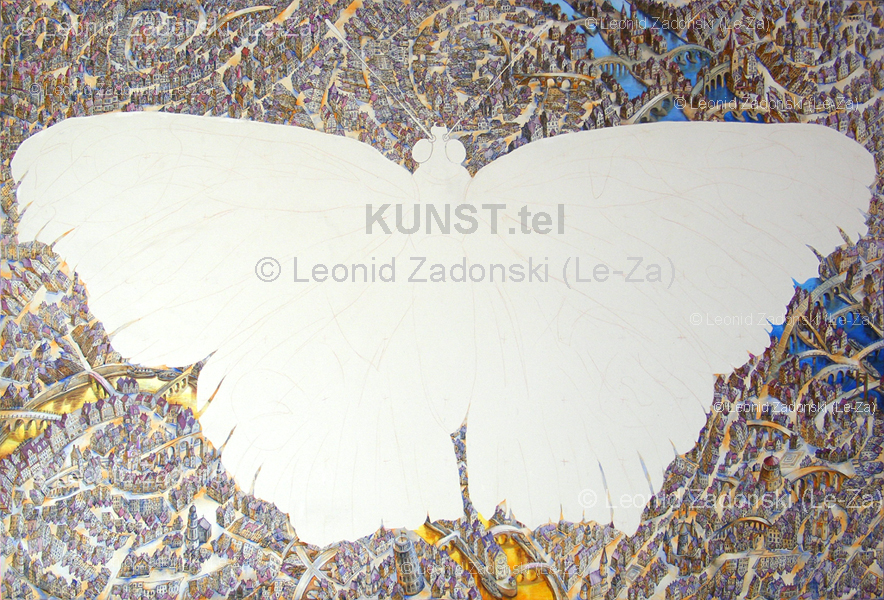 "Painting ""Flying Butterfly"" on canvas, the city and the houses and rivers. (Le-Za)"
