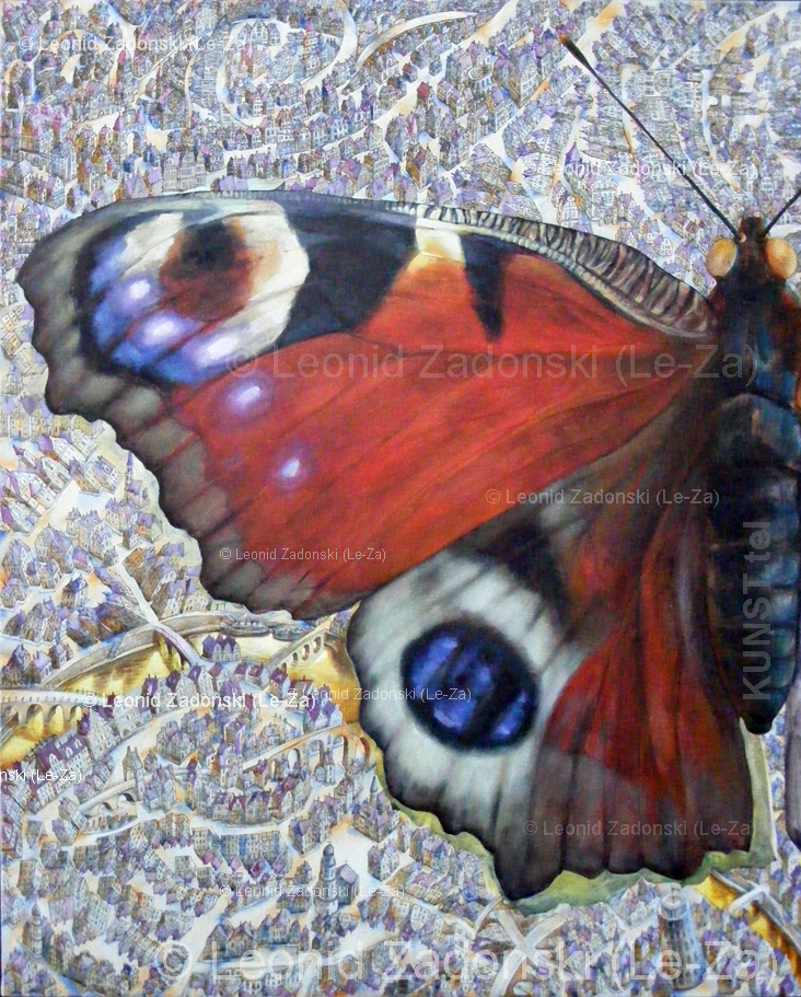 "Painting ""Flying Butterfly"" on canvas, detail painted - the left wing of the butterfly. (Le-Za)"