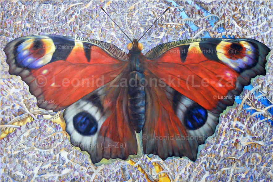"Painting ""Flying Butterfly"" on canvas, both wings painted.  (Le-Za)"