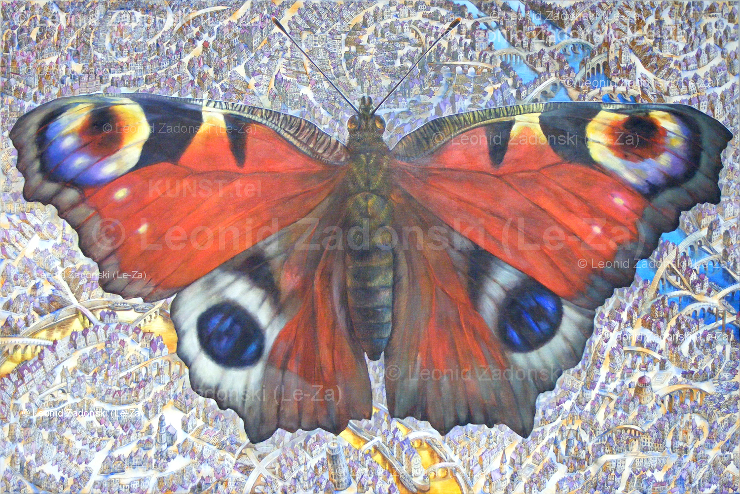 "Painting ""Flying Butterfly"" on canvas, the painting is ready. (Le-Za)"