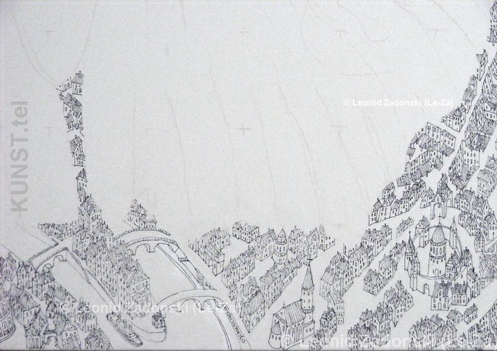 """""""Drugelis, Skraidantis virš Miesto"""", piešinio detalė - miesto apatinė dalis per vidurį iš dešinės. (Le-Za)"""