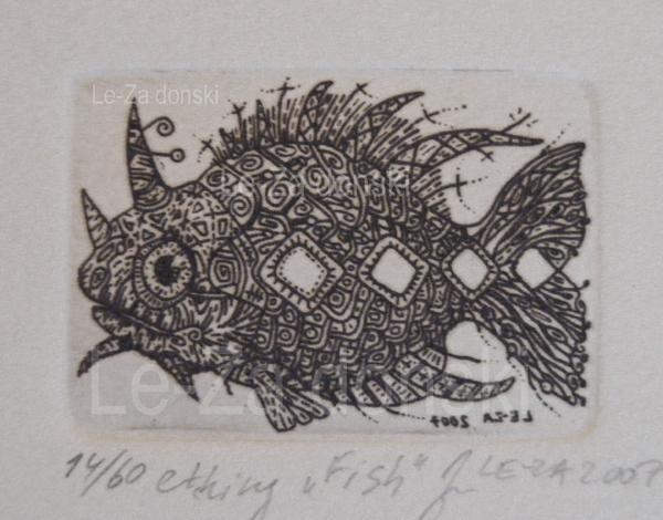 """Žuvys"", technika: ofortas  ant vario, popierius, 2007 Copyright © dailininkas-grafikas Leonid Zаdonski (Le-Za)"