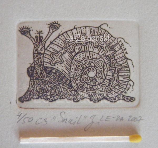 """Sraigė"", technika: ofortas  ant vario, popierius, 2007 Copyright © dailininkas-grafikas Leonid Zаdonski (Le-Za)"