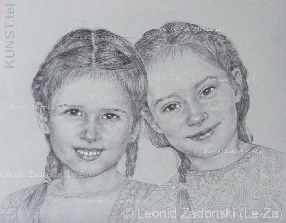 """""""Dviejų mergaičių portretas"""", technika: Derwent Ivory Dark pieštukas, balta pastelė, toninis popierius, 50 x 60 cm, 2012 Copyright © dailininkas-portretistas Leonid Zаdonski (Le-Za)"""
