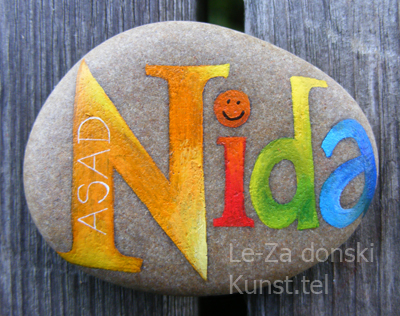 """Nida"" - name art on sea stones, painting-artist Leonid Zαdonski (Le-Za)"