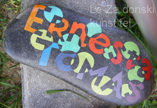 """Ernesta ir Tomas"" - name art on sea stones, painting-artist Leonid Zαdonski (Le-Za)"