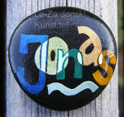 """Jonas"" - name art on sea stones, painting-artist Leonid Zαdonski (Le-Za)"