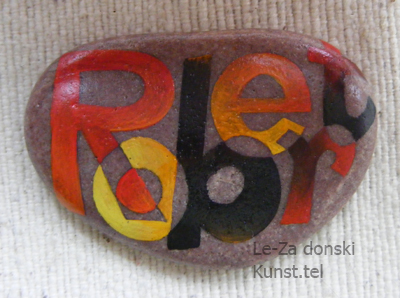 """Robert"" - name art on sea stones, painting-artist Leonid Zαdonski (Le-Za)"