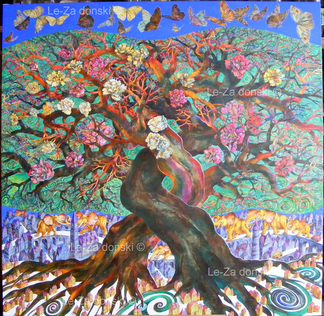 "Painting on canvas ""Two Trees"", acryl 100 x 100 cm. 2014 Copyright © painting-artist Leonid Zаdonski (Le-Za)"