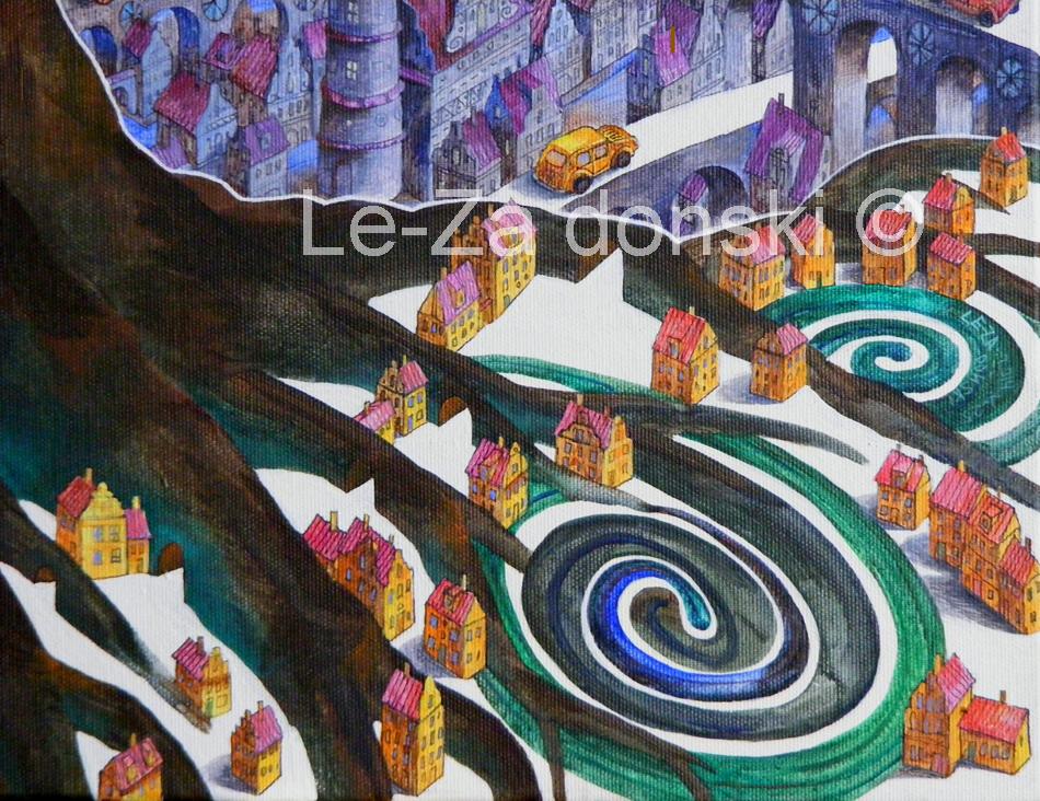 Paveikslo 'Du Medžiai' ('Two Trees') fragmentas, © dailininkas-tapytojas Leonid Zαdonski (Le-Za)