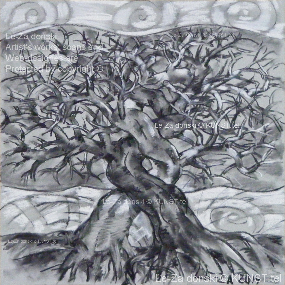"Charcoal drawing ""Two Trees"""