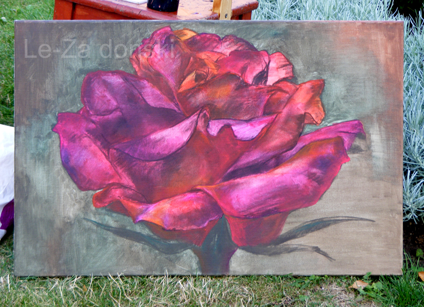Paveikslas 'Rožė' ('Rose'), akrilas, drobė,  dailininkas-tapytojas Le-Za